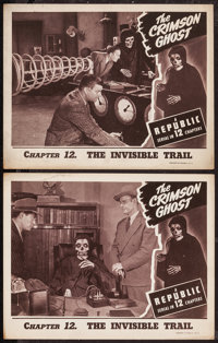 "The Crimson Ghost (Republic, 1946). Lobby Cards (2) (11"" X 14"") Chapter 12 -- ""The Invisible Trail.""..."