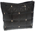 Luxury Accessories:Bags, Salvatore Ferragamo Black Leather and Patent Leather Jayla QuiltedHobo Bag. ...