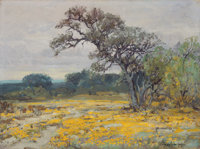JULIAN ONDERDONK (American, 1882-1922) Coreopsis, Near San Antonio, Texas, 1919 Oil on canvas board<