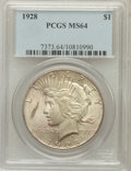Peace Dollars: , 1928 $1 MS64 PCGS. PCGS Population (1705/255). NGC Census:(933/88). Mintage: 360,649. Numismedia Wsl. Price for problem fr...