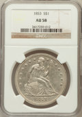 Seated Dollars: , 1853 $1 AU58 NGC. NGC Census: (29/80). PCGS Population (20/65).Mintage: 46,110. Numismedia Wsl. Price for problem free NGC...