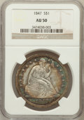 Seated Dollars: , 1847 $1 AU50 NGC. NGC Census: (35/261). PCGS Population (77/224).Mintage: 140,750. Numismedia Wsl. Price for problem free ...