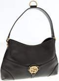Luxury Accessories:Bags, Gucci Black Leather Shoulder Bag with Monogram G Logo. ...