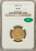 Liberty Half Eagles: , 1849-C $5 XF45 NGC. CAC. NGC Census: (30/133). PCGS Population(33/80). Mintage: 64,800. Numismedia Wsl. Price for problem ...