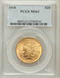 Indian Eagles: , 1910 $10 MS63 PCGS. PCGS Population (963/337). NGC Census:(1010/578). Mintage: 318,500. Numismedia Wsl. Price for problem ...