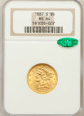 Liberty Half Eagles: , 1887-S $5 MS64 NGC. CAC. NGC Census: (58/6). PCGS Population(54/3). Mintage: 1,912,000. Numismedia Wsl. Price for problem ...