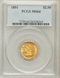 Liberty Quarter Eagles: , 1851 $2 1/2 MS64 PCGS. PCGS Population (36/4). NGC Census: (36/9).Mintage: 1,372,748. Numismedia Wsl. Price for problem fr...