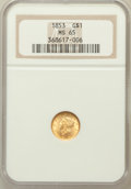 Gold Dollars: , 1853 G$1 MS65 NGC. NGC Census: (194/46). PCGS Population (141/37).Mintage: 4,076,051. Numismedia Wsl. Price for problem fr...