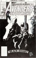 Original Comic Art:Covers, Steve Lightle Avengers Spotlight #39 The Black Knight CoverOriginal Art (Marvel, 1990)....