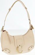 Luxury Accessories:Bags, Chloe Beige Leather Shoulder Bag with Brass C Closure. ...