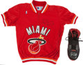 Basketball Collectibles:Others, Alonzo Mourning Signed Heat Shooting Shirt & Udonis Haslem GameWorn Signed Shoe. ...