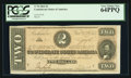 Confederate Notes:1864 Issues, Fully Framed T70 $2 1864.. ...