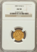 Liberty Quarter Eagles: , 1857-O $2 1/2 AU58 NGC. NGC Census: (87/52). PCGS Population(28/26). Mintage: 34,000. Numismedia Wsl. Price for problem fr...