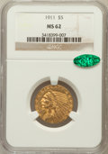 Indian Half Eagles: , 1911 $5 MS62 NGC. CAC. NGC Census: (3288/1362). PCGS Population(2067/1379). Mintage: 915,000. Numismedia Wsl. Price for pr...
