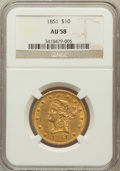Liberty Eagles: , 1851 $10 AU58 NGC. NGC Census: (35/20). PCGS Population (2/11).Mintage: 176,328. Numismedia Wsl. Price for problem free NG...