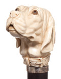 Decorative Arts, Continental:Other , A CARVED IVORY AND WOOD DOG CANE . Circa 1900. 39 inches lengthoverall (99.1 cm). ...
