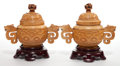 Asian:Chinese, A PAIR OF CHINESE IVORY AND CARVED WOOD COVERED URNS . 20thcentury. Marks: (signature not deciphered). 7 inches high (17.8 ...(Total: 6 Items)