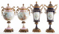 Ceramics & Porcelain, TWO PAIRS OF FRENCH SEVRES-STYLE PORCELAIN AND GILT BRONZE COVERED CABINET VASES . Circa 1900. Marks to cobalt pair: (pseudo... (Total: 4 Items)