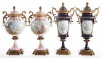 TWO PAIRS OF FRENCH SEVRES-STYLE PORCELAIN AND GILT BRONZE COVERED CABINET VASES Circa 1900 Marks to cobalt pa