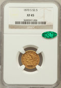Liberty Quarter Eagles: , 1870-S $2 1/2 XF45 NGC. CAC. NGC Census: (17/80). PCGS Population(12/51). Mintage: 16,000. Numismedia Wsl. Price for probl...