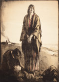 Fine Art - Work on Paper:Print, DESOLATED WOMEN AND DEAD SOLDIER IN DEVASTATED REGION. Color print. 52-1/2 x 38-1/2 inches (133.4 x 97.8 cm). The Elton M....