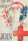 Fine Art - Work on Paper:Print, HOWARD CHANDLER CHRISTY (American, 1872-1952). The Spirit ofAmerica, Join, 1919. Color lithograph. 29-1/4 x 19-1/2 inch...