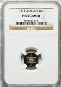 Proof Three Cent Silver, 1873 3CS Closed 3 PR63 Cameo NGC. NGC Census: (3/48). PCGSPopulation (12/34)....