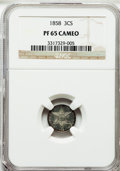 Proof Three Cent Silver: , 1858 3CS PR65 Cameo NGC. NGC Census: (6/2). PCGS Population (1/1)....
