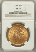 Liberty Double Eagles: , 1896 $20 MS63 NGC. NGC Census: (1429/176). PCGS Population(870/131). Mintage: 792,500. Numismedia Wsl. Price for problem f...