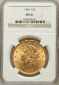 Liberty Double Eagles: , 1898 $20 MS61 NGC. NGC Census: (513/812). PCGS Population(373/671). Mintage: 170,300. Numismedia Wsl. Price for problemfr...