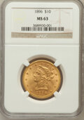 Liberty Eagles: , 1896 $10 MS63 NGC. NGC Census: (211/19). PCGS Population (130/9).Mintage: 76,200. Numismedia Wsl. Price for problem free N...