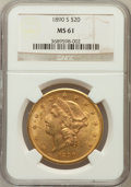 Liberty Double Eagles: , 1890-S $20 MS61 NGC. NGC Census: (604/454). PCGS Population(272/677). Mintage: 802,750. Numismedia Wsl. Price for problem ...