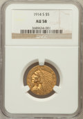 Indian Half Eagles: , 1914-S $5 AU58 NGC. NGC Census: (532/521). PCGS Population(215/439). Mintage: 263,000. Numismedia Wsl. Price for problem f...