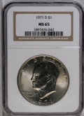 Eisenhower Dollars: , 1971-D $1 MS65 NGC. NGC Census: (833/434). PCGS Population (1681/624). Mintage: 68,587,424. Numismedia Wsl. Price: $27. (#7...