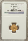 Gold Dollars, 1855 G$1 -- Bent -- NGC Details. AU. NGC Census: (210/4676). PCGSPopulation (372/2489). Mintage: 758,269. Numismedia Wsl. ...