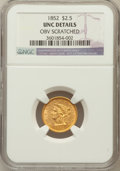 Liberty Quarter Eagles, 1852 $2 1/2 -- Obv Scratched -- NGC Details. UNC. NGC Census:(13/572). PCGS Population (7/272). Mintage: 1,159,681. Nu...