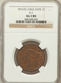 Large Cents, 1819/8 1C Large Date AG3 NGC. N-1. NGC Census: (0/75). PCGSPopulation (0/81). Mintage: 2,671,000....