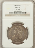 Bust Half Dollars, 1813 50C VF30 NGC. O-109. NGC Census: (27/665). PCGS Population(49/499). Mintage: 1,241,903. Numismedia Wsl. Price for pro...