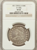 Bust Half Dollars, 1811 50C Small 8 VF25 NGC. O-108a. PCGS Population (18/392)....