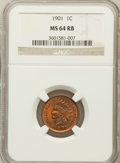 Indian Cents: , 1901 1C MS64 Red and Brown NGC. NGC Census: (662/392). PCGSPopulation (451/102). Mintage: 79,611,144. Numismedia Wsl. Pric...