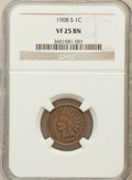 Indian Cents: , 1908-S 1C VF25 NGC. NGC Census: (188/2302). PCGS Population(173/1600). Mintage: 1,115,000. Numismedia Wsl. Price for probl...