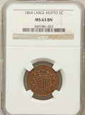 Two Cent Pieces: , 1864 2C Large Motto MS63 Brown NGC. NGC Census: (368/710). PCGSPopulation (321/323). Mintage: 19,847,500. Numismedia Wsl. ...