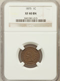 Indian Cents: , 1875 1C XF40 NGC. NGC Census: (22/530). PCGS Population (42/275).Mintage: 13,528,000. Numismedia Wsl. Price for problem fr...