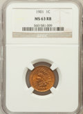 Indian Cents: , 1901 1C MS63 Red and Brown NGC. NGC Census: (252/1054). PCGSPopulation (185/553). Mintage: 79,611,144. Numismedia Wsl. Pri...