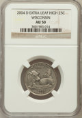 Statehood Quarters, 2004-D 25C Wisconsin Extra Leaf High AU50 NGC. NGC Census: (0/48).PCGS Population (2/2906). Numismedia Wsl. Price for pro...