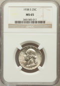 Washington Quarters: , 1938-S 25C MS65 NGC. NGC Census: (444/289). PCGS Population(801/397). Mintage: 2,832,000. Numismedia Wsl. Price for proble...