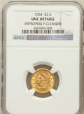 Liberty Quarter Eagles: , 1904 $2 1/2 -- Improperly Cleaned -- NGC Details. Unc. NGC Census:(40/3976). PCGS Population (60/3673). Mintage: 160,700. ...