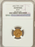 Gold Dollars, 1854 G$1 Type Two -- Bent -- NGC Details. AU. NGC Census:(207/5037). PCGS Population (369/2594). Mintage: 783,943.Numisme...