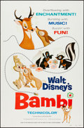 "Movie Posters:Animation, Bambi (Buena Vista, R-1975 and R-1982). One Sheets (2) (27"" X 41"")The R-1975 is Style A, Both are Flat Folded. Animation.. ...(Total: 2 Items)"
