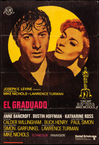 """The Graduate (United Artists, 1968). Spanish One Sheet (27"""" X 39""""). Comedy"""